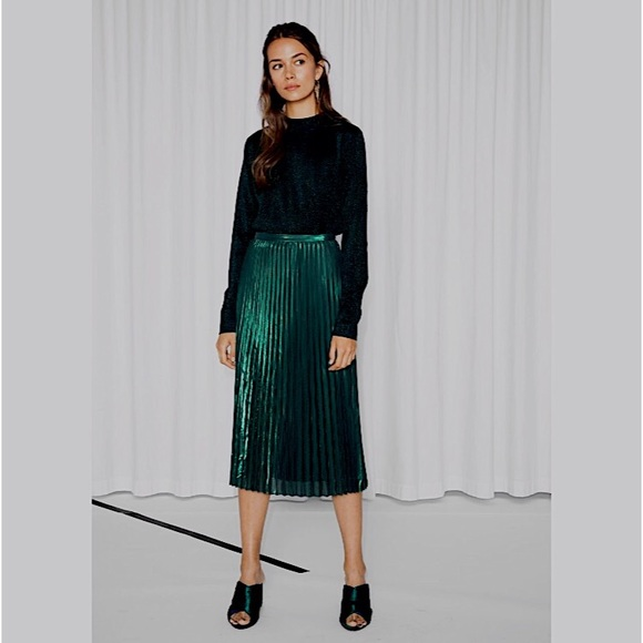& Other Stories Dresses & Skirts - & Other Stories Green Micropleated Midi Skirt
